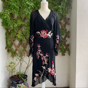 Sue Wong Embroidered Silk Black Red Floral Dress